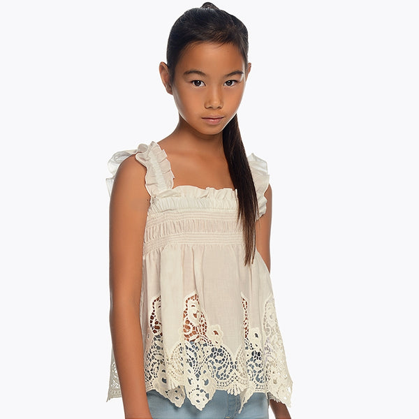 SS19 Mayoral Older Girls Ivory Cut Out Blouse 6106