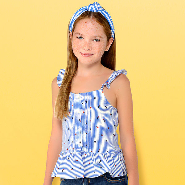 SS19 Mayoral Older Girls Blue & White Crossed Back Top 6111
