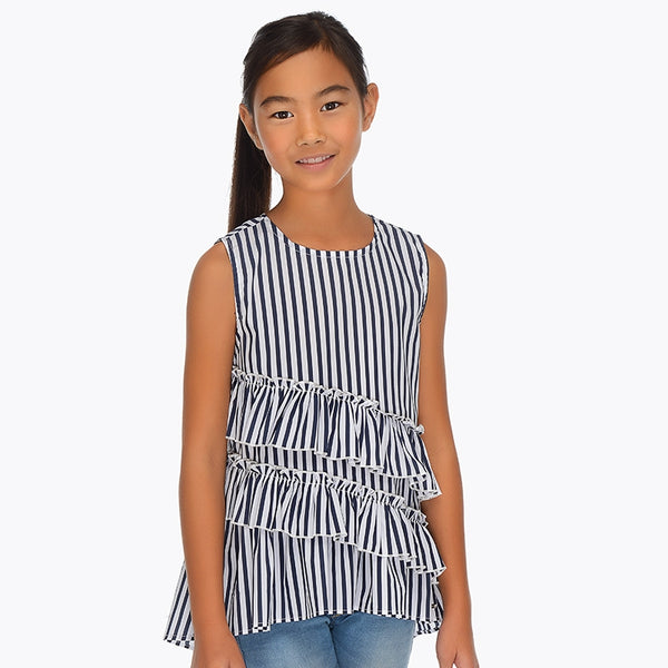 SS19 Mayoral Older Girls Blue & White Stripe Blouse 6112