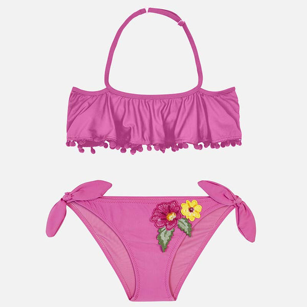 SS19 Mayoral Older Girls Purple Flower Embroidered Bikini 6706