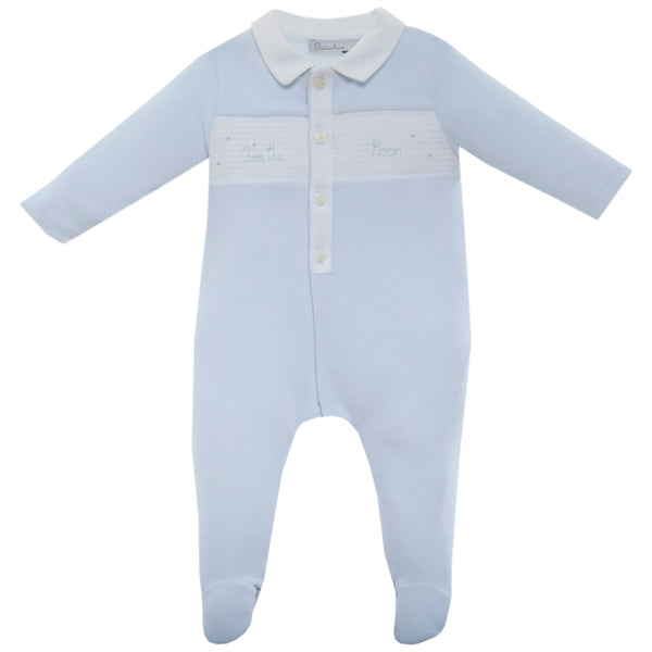 AW19 Patachou Baby Boys Blue Velour 'Over The Moon' Babygrow