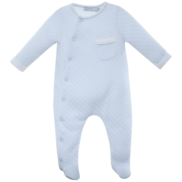 AW19 Patachou Baby Boys Blue Quilted Babygrow