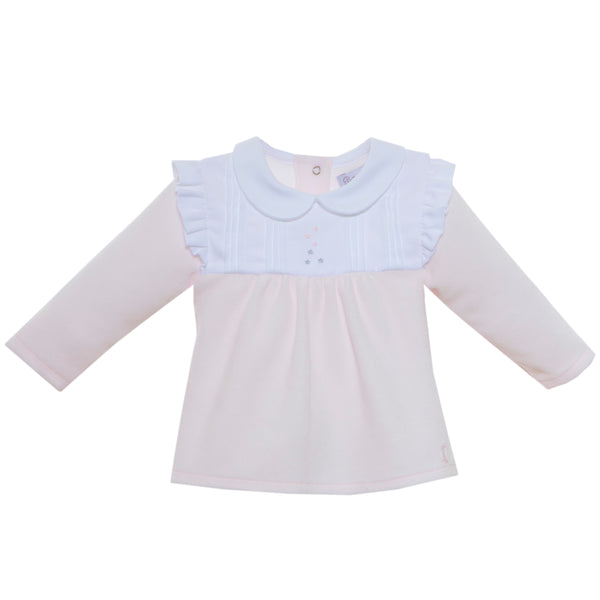 AW19 Patachou Baby Girls Pink & White Velour Two-Piece Set
