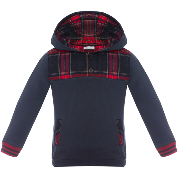 AW19 Patachou Boys Navy Blue Tartan Tracksuit