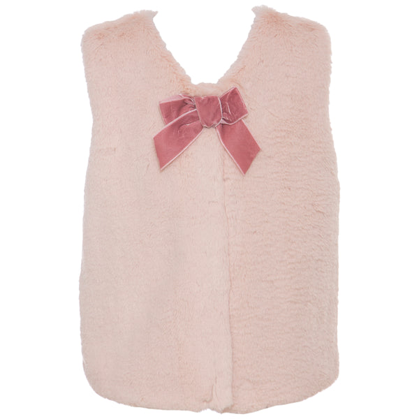 AW19 Patachou Girls Pink Faux Fur Gilet