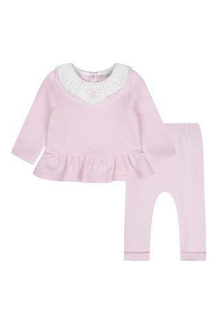 AW20 Patachou Girls Pink Lace Detail Leggings Set
