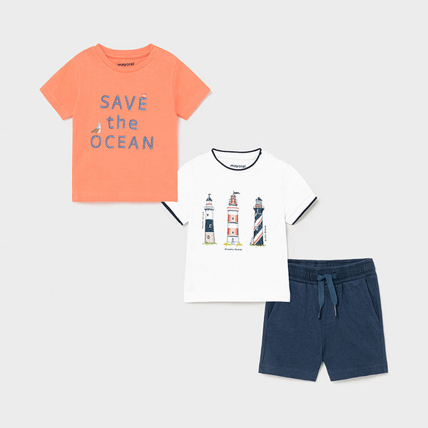 SS21 Mayoral Toddler Boys 'Save The Ocean' Three Piece Set 1670