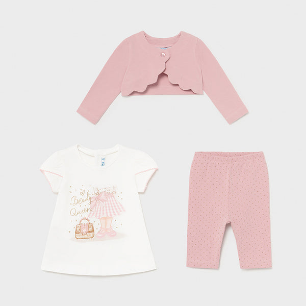 SS21 Mayoral Toddler Girls Pink Beauty Queen Three-Piece Set 1706