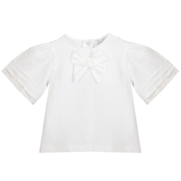 SS20 Patachou Baby Girls White Bow Jam Pants Set
