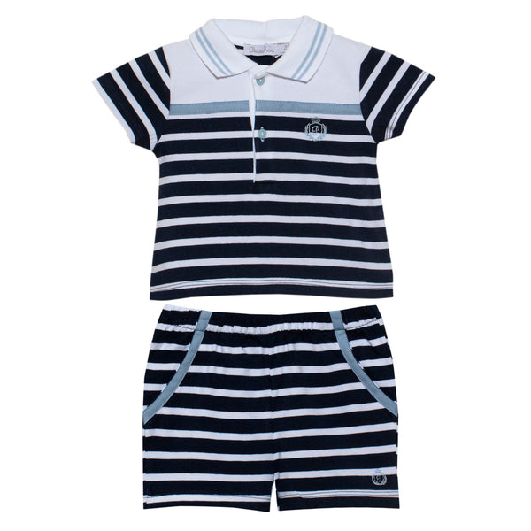 SS20 Patachou Baby Boys Navy Blue & White Stripe Two-Piece Set