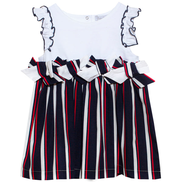 SS20 Patachou Girls Navy Blue Nautical Stripes Dress