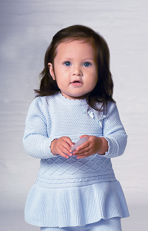 AW19 Sarah Louise Baby Girls Blue Knitted Dress