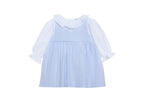 AW20 Patachou Baby Girls Blue Jacquard Dress