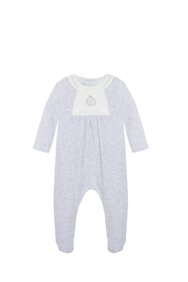 AW20 Patachou Baby Boys Blue Velour Logo Embroidered Babygrow