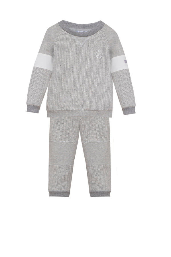 AW20 Patachou Boys Grey Herringbone Tracksuit