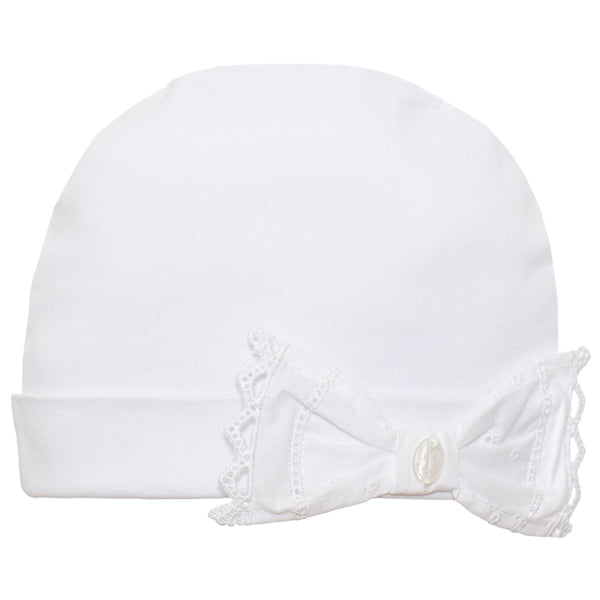 SS21 Patachou Baby Girls White Bow Hat