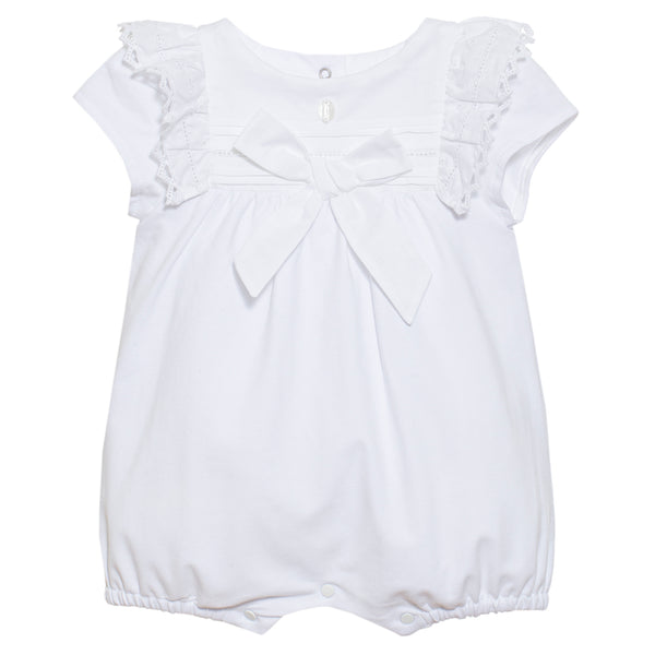 SS21 Patachou Baby Girls White Bow Romper