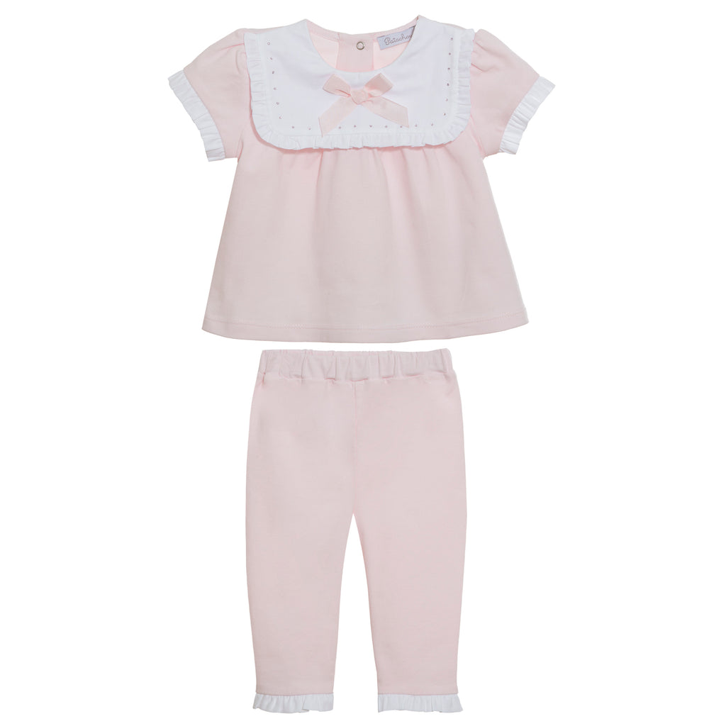 SS21 Patachou Baby Girls Pink Bow Two-Piece Set