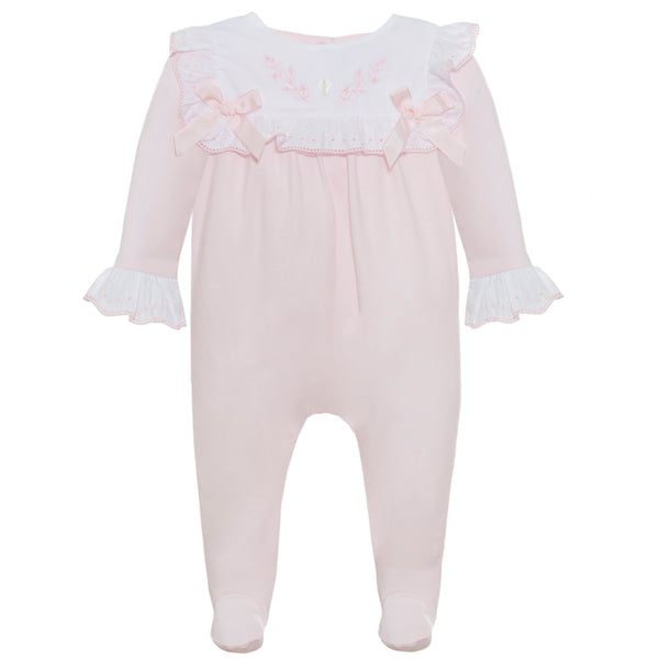 SS21 Patachou Baby Girls Pink Embroidered Flower Babygrow