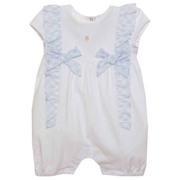 SS21 Patachou Baby Girls Blue & White Bow Romper