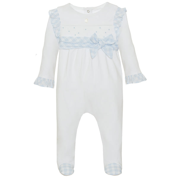 SS21 Patachou Baby Girls White & Blue Check Bow Babygrow