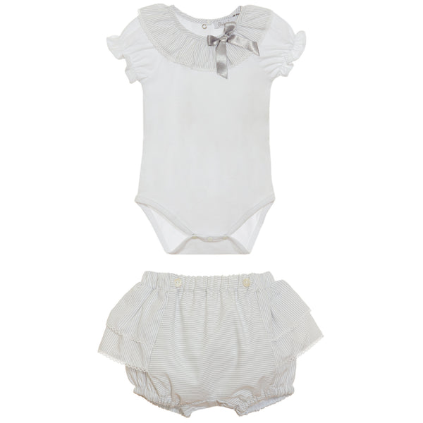 SS21 Patachou Baby Girls Grey & White Stripe Jam Pants Set