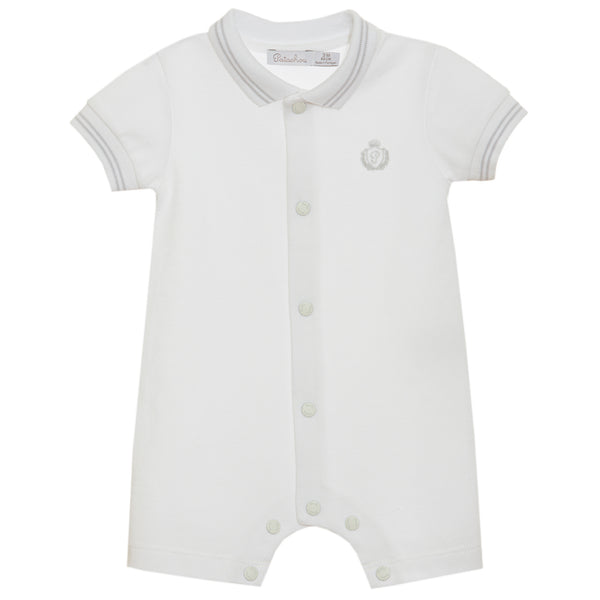 SS21 Patachou Baby Boys White Polo Romper