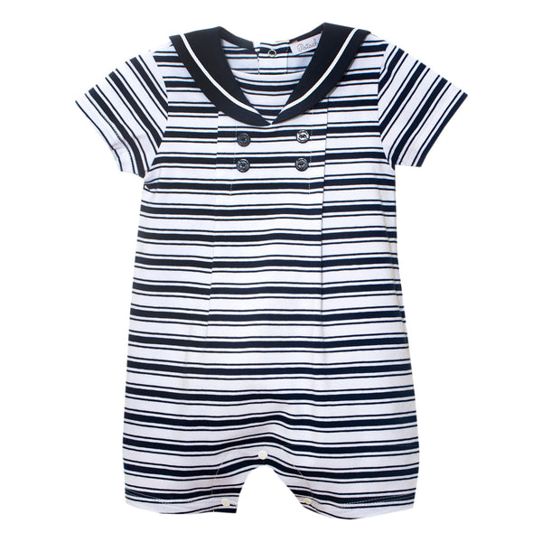 SS21 Patachou Baby Boys Navy Blue & White Stripe Romper