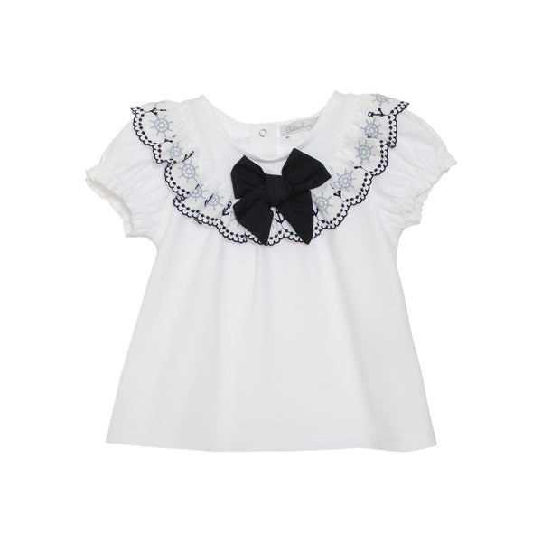 SS21 Patachou Girls White & Navy Blue Bow Top