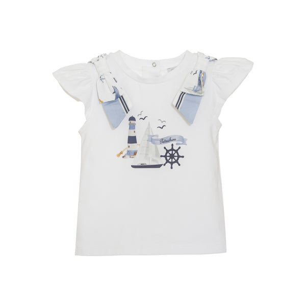 SS21 Patachou Girls White Nautical Bow Top