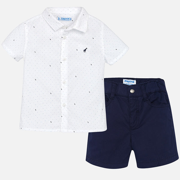 SS18 Mayoral Toddler Boys White & Navy Shorts Set 1297