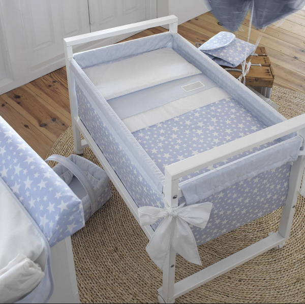 Cambrass Blue Stars Wooden Frame Crib
