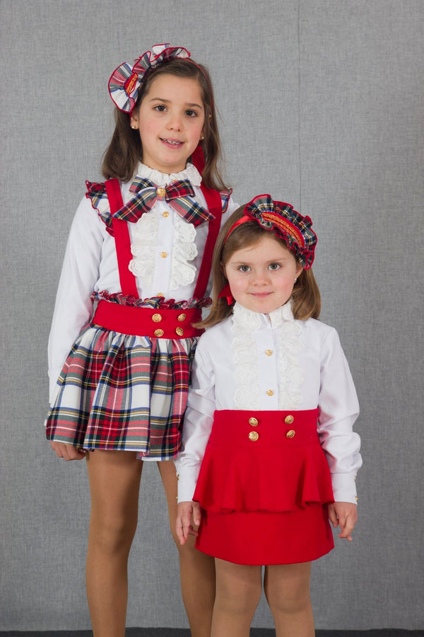 AW18 Naxos Girls Tartan Pinafore Set