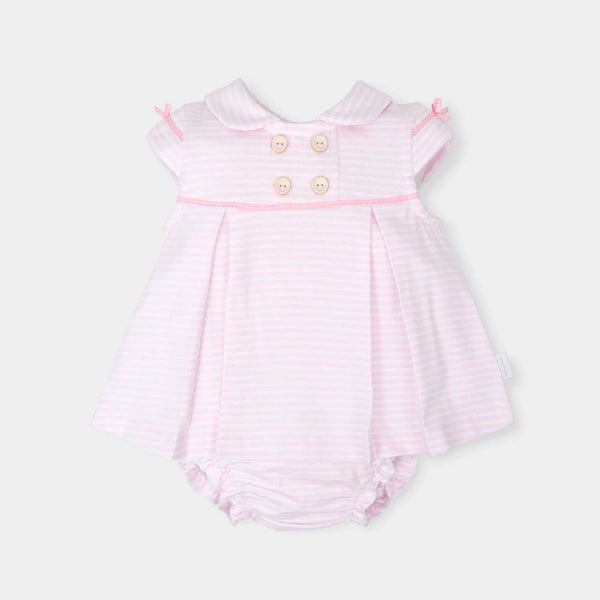 SS18 Tutto Piccolo Baby Girls Pink & White Stripe Dress & Knickers Set 4412