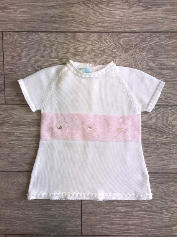SS18 Floc Baby Girls White & Pink Stars Knitted Dress