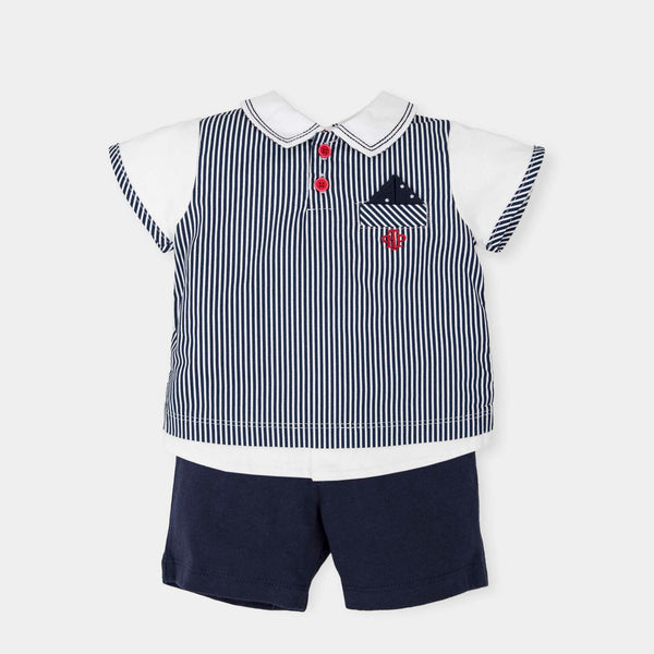 SS18 Tutto Piccolo Boys Navy & White Shorts Set 4689