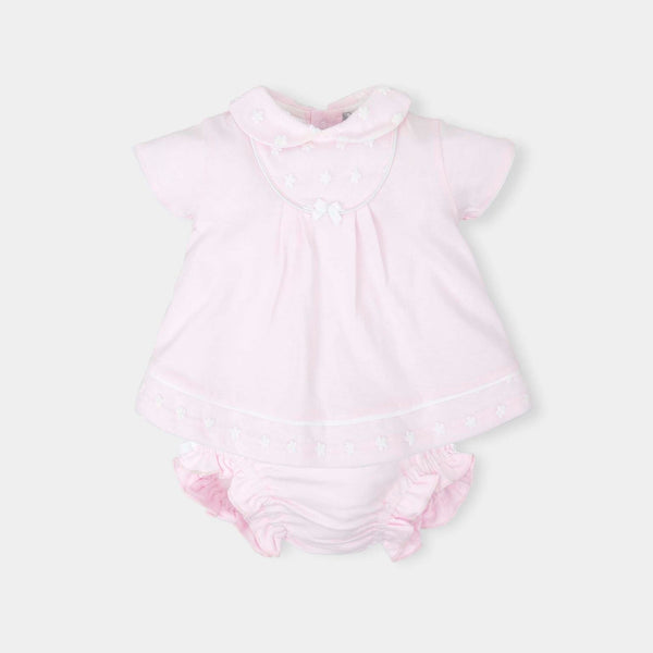 SS18 Tutto Piccolo Baby Girls Pink Embroidered Flowers Dress & Knickers 4782