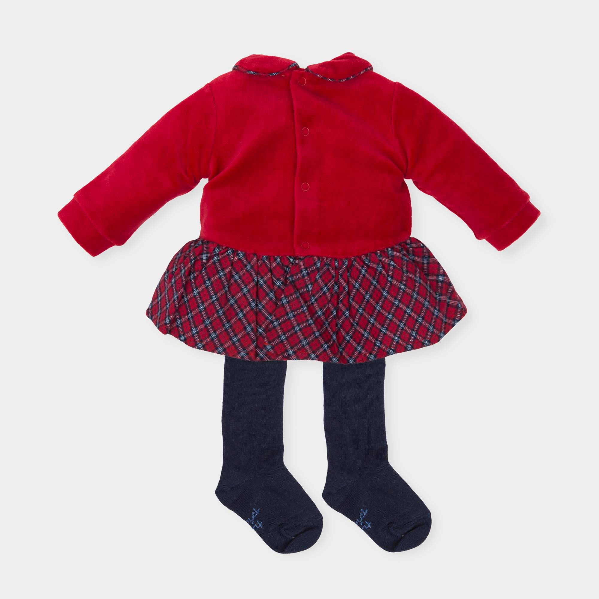 321a97542 AW18 Tutto Piccolo Girls Red Tartan Dress   Tights 5289 – Liquorice Kids