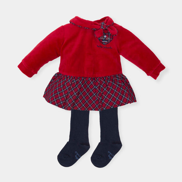 AW18 Tutto Piccolo Girls Red Tartan Dress & Tights 5289