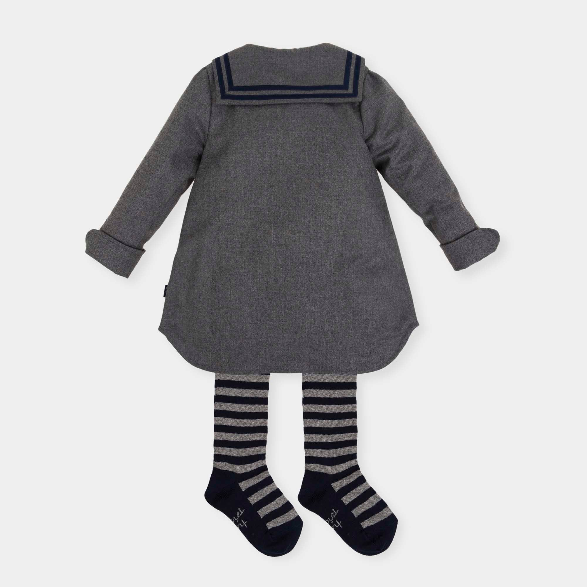 c2ec31882a6 AW18 Tutto Piccolo Girls Grey   Navy Blue Sailor Dress   Tights 5430 ...