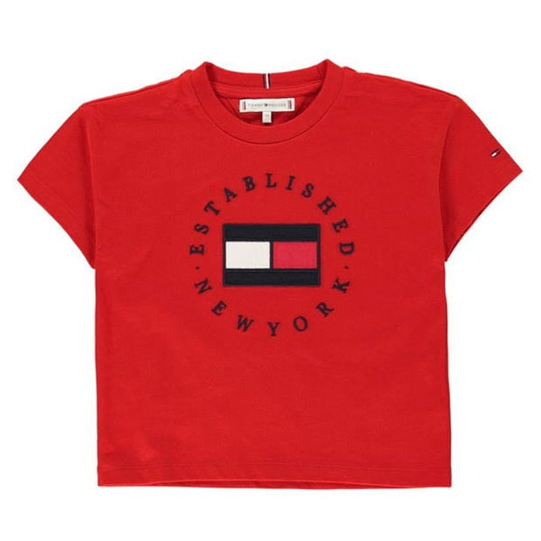 SS21 Tommy Hilfiger Girls Red Heritage Logo Top