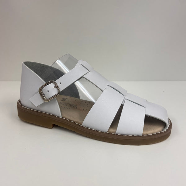 Andanines Boys White Leather Sandals