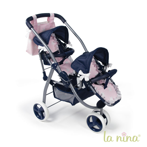 La Nina Navy and Pink Twin Doll's Pram - Liquorice Kids