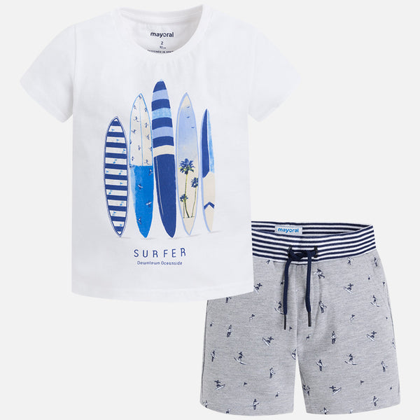 SS18 Mayoral Boys White Surfer T-shirt and shorts 3610