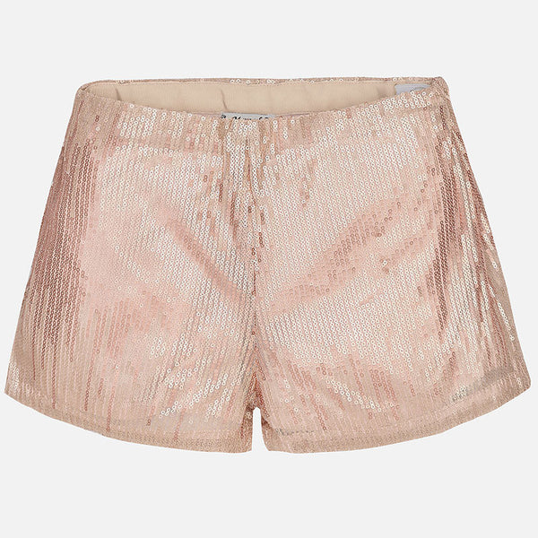 SS17 Mayoral Older Girls Pink Sequin Shorts 6211