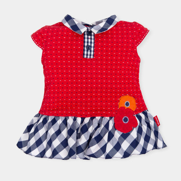 SS19 Tutto Piccolo Girls Red, Blue & White Check Dress 6421