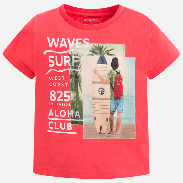 SS18 Mayoral Boys Red Boy and Surf Board T-shirt 3073