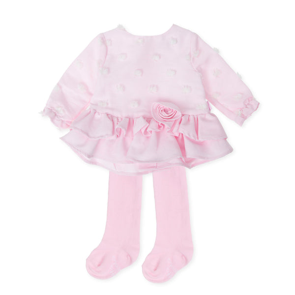 AW19 Tutto Piccolo Girls Pink Rosette Dress 7210