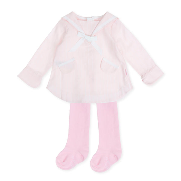 AW19 Tutto Piccolo Girls Pink Sailor Dress & Tights 7215