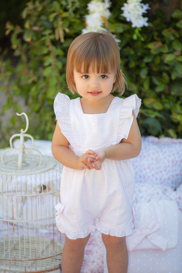 SS20 Patachou Girls Pink & White Stripe Romper